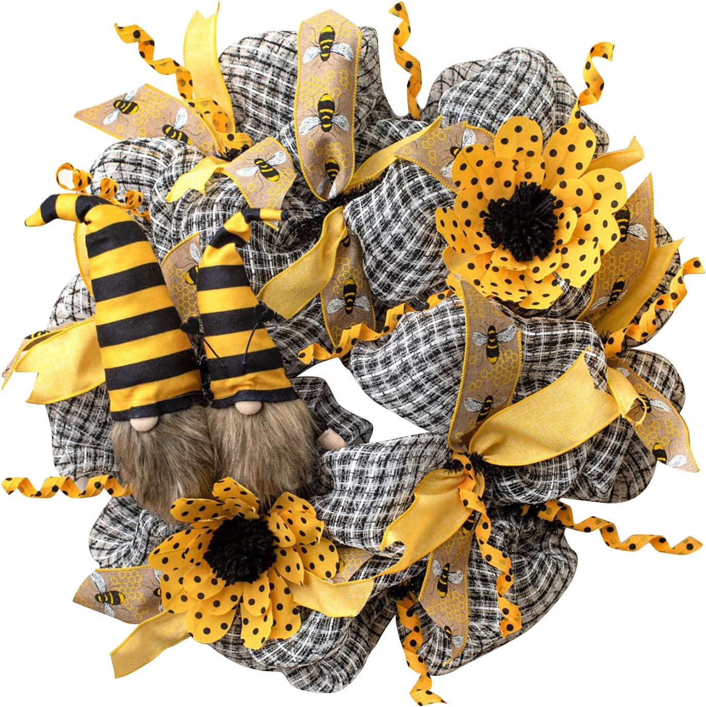 Ranking TOP14 Simulation Leaf Bee SunflowerWreath Hanging P Garland Max 48% OFF Artificial