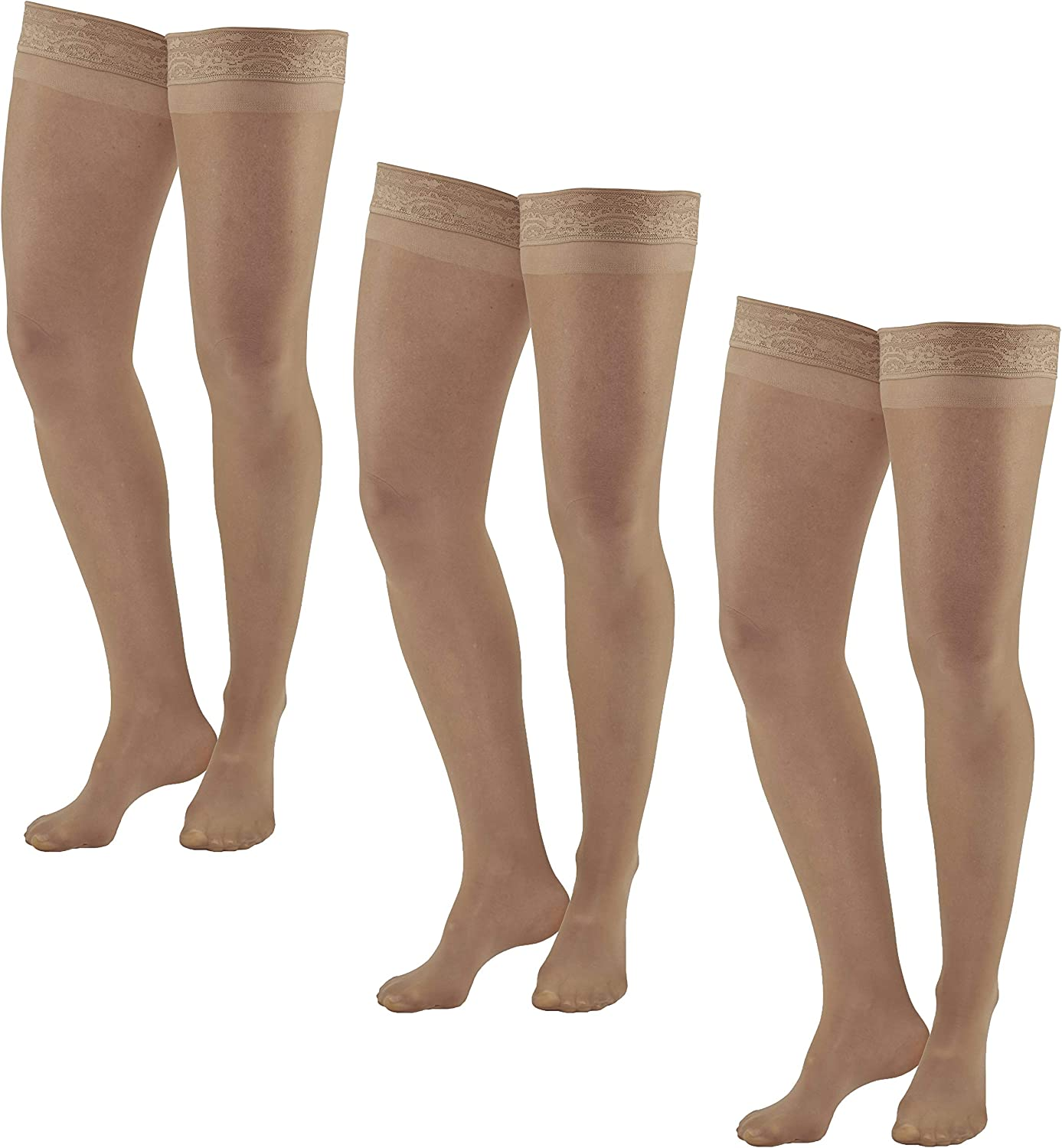 Ames Walker AW Style 74 Soft Sheer 8 15mmHg Thigh Highs w/Band (3 Pack) Natural