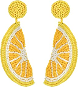 Kenneth Jay Lane Lemon Slice Seed Bead Post Earrings