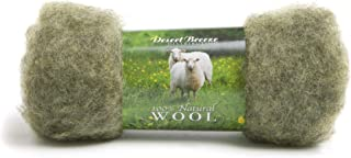 Maori Wool - A Special Blend of New Zealand Wools by DHG for Needle Felting and Wet Felting, 1 OZ Carded Wool Batt, 100% Pure Wool, Color Moss Green