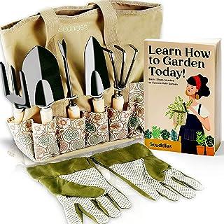Scuddles Garden Tools Set - 8 Piece Heavy Duty Gardening Kit with Storage Organizer, Ergonomic Hand Digging Weeder Rake Sh...