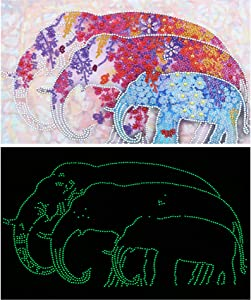 Diamond Painting Glow in The Dark 5D Luminous Diamond Painting Elephants for Adults Diamond Beaded Glow Painting Art for Home Wall Decor,11.815.7 Inch