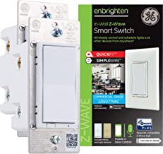 GE Enbrighten Z-Wave Plus Smart Light Switch 2-pack, QuickFit & SimpleWire, Commercial 120/277VAC, Works with Alexa, Google Assistant, ZWave Hub & Neutral Wire Required, White & Light Almond, 49156