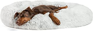 """Best Friends by Sheri Luxury Shag Fur Donut Cuddler 45"""", Frost - Extra Large Round Donut Cat and Dog Cushion Bed, Orthopedic Relief, Self-Warming and Cozy for Improved Sleep - Prime, Machine Washable"""