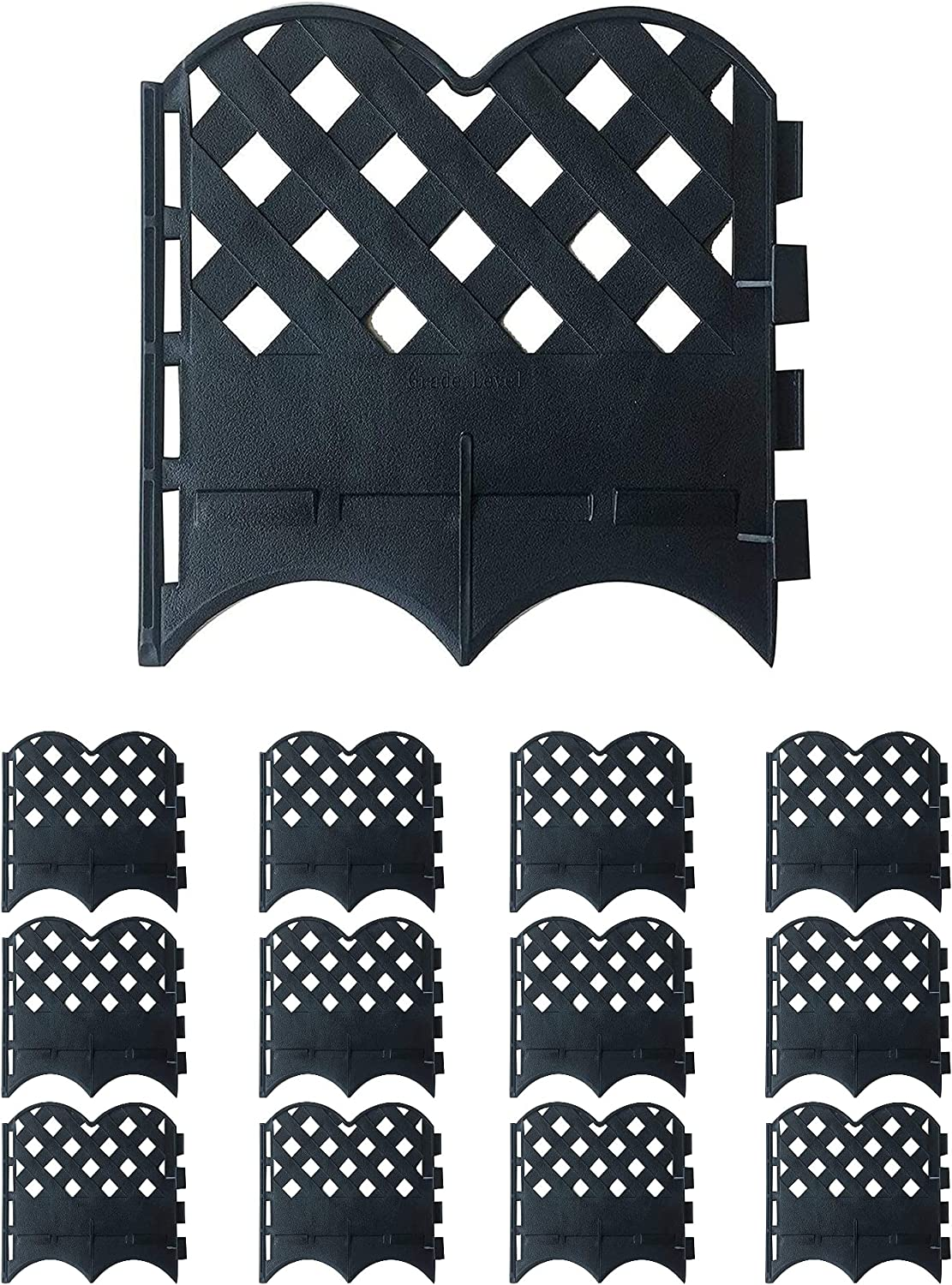 Abba Patio 12 Sections Garden Recycled Plastic Landscape Border No-Dig Flexible Lawn Edging Grid Style Decorative Fence, 6.4