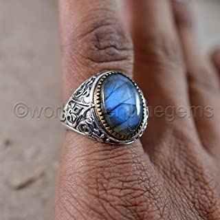 blue flashy natural labradorite ring, february birthstone ring, heavy men's two tone ring, solid 925 sterling silver ring, healing labradorite oxidized arabic ring, wedding men's stunning jewelry