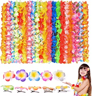 FUN LITTLE TOYS 40 PCs Tropical Hawaiian Leis Ruffled Flowers Necklaces and 10 Pieces Hawaiian Luau Flower Lei Hair Clip for Party Supplies, Beach Party Decorations, Birthday Party Favors