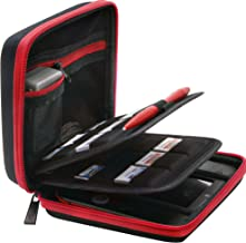 BRENDO Carrying Hard Case for Nintendo 2DS, 24 Game Cartridge Holders, Fits Charger (not for 2DS XL) - Black/Red