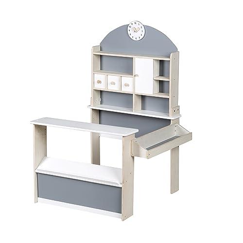 Tienda roba, tienda para niños en madera, tienda con mostrador y expositor lateral.