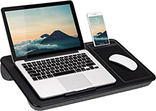 LapGear Home Office Lap Desk with Device Ledge, Mouse Pad, and Phone Holder - Black Carbon - Fits Up to 15.6 Inch Laptops...