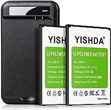 LG V10 Batteries (2x4200mAh Upgraded), YISHDA Li-Polymer Replacement BL-45B1F Battery with LG V10 Battery Charger for LG V10 VS990, H900, H901, H961N, H960A Cell Phone | LG V10 Spare Battery Kit