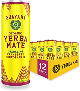 Guayaki Yerba Mate | Organic Alternative to Herbal Tea, Coffee and Energy Drink | Sparkling Cranberry Pomegranate | 80 mg ...