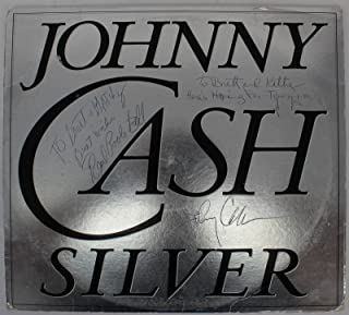 Johnny Cash, Earl Pool Ball & Jack Routh Signed Silver Album Cover W/Vinyl BAS - Beckett Authentication