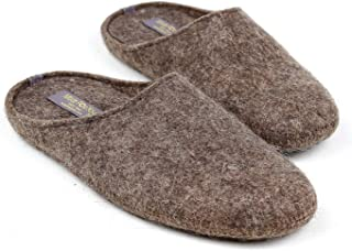Made For You Men's Natural 100% Wool Slippers with Arch Support Insoles and Non-Slip Rubber Soles, Hypoallergenic