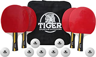 Tiger Sports and Outdoors Table Tennis Set Premium 4-Player Professional Grade Ping Pong Set - Custom Storage Bag and Balls Bundle