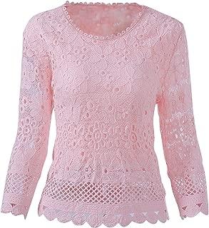 KMHZ Women's Long Sleeve Lace Blouse Elegant Sheer Chiffon Tops Shirt Lace Splice Peplum Fancy Tops