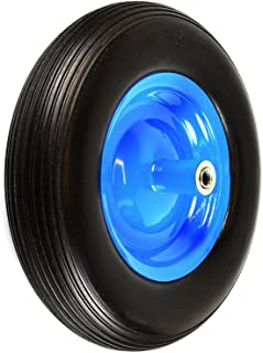 "NK WFF16BK Flat-Free Wheelbarrow Tire with Ribbed Tread 6""-Inch Centered Hub 5/8""-Inch Bearings - 15.5""-Inch Tire Diameter, 4.80/4.00-8"