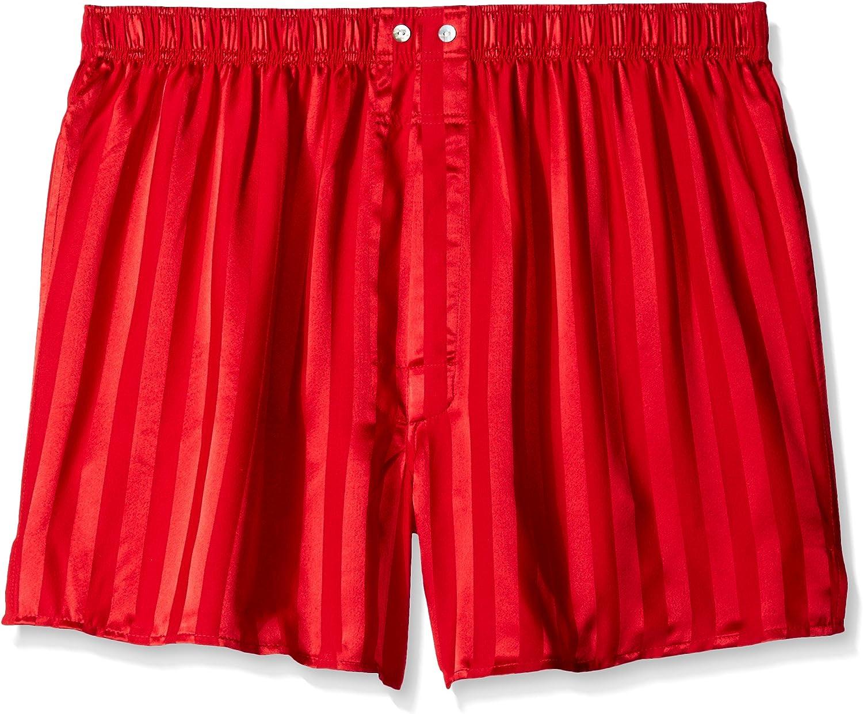 INTIMO Men's Satin Stripe Boxer-Big Short