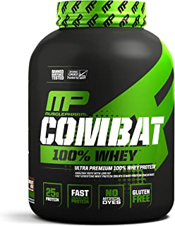 MusclePharm Combat 100% Whey, Muscle-Building Whey Protein Powder, 25 g of Ultra-Premium, Gluten-Free, Low-Fat Blend of Fast-Digesting Whey Protein, Chocolate Milk, 5-Pound, 68 Servings
