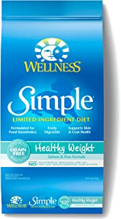 Wellness Simple Natural Grain Free Dry Limited Ingredient Healthy Weight Dog Food, Salmon & Peas, 24-Pound Bag