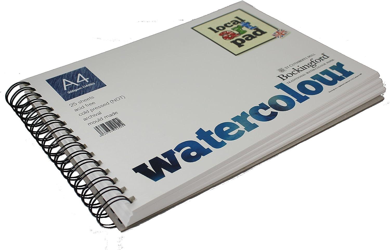 Local Art Pad A4 Bockingford Watercolour spiral bound paper pad 25 sheets 300gsm B01K4NE8B4  |