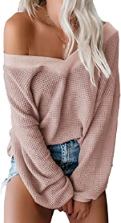 Luyeess Women's Casual V Neck Long Sleeve Waffle Knit Slouchy Pullover Sweater