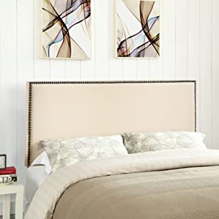 Modway Region Linen Fabric Upholstered Queen Headboard in Ivory with Nailhead Trim