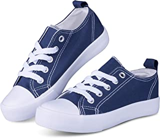 Girls Canvas Shoes Tie up Slip on Sneakers - Causal Comfortable Cap Toe Shoes