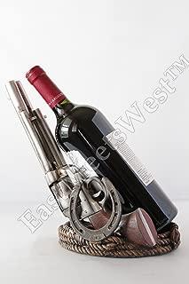 Western Cowboy Rustic Double Guns Pistols Horseshoe Rope Base Wine Bottle Holder Detailed Hand Painted Rustic Decoration