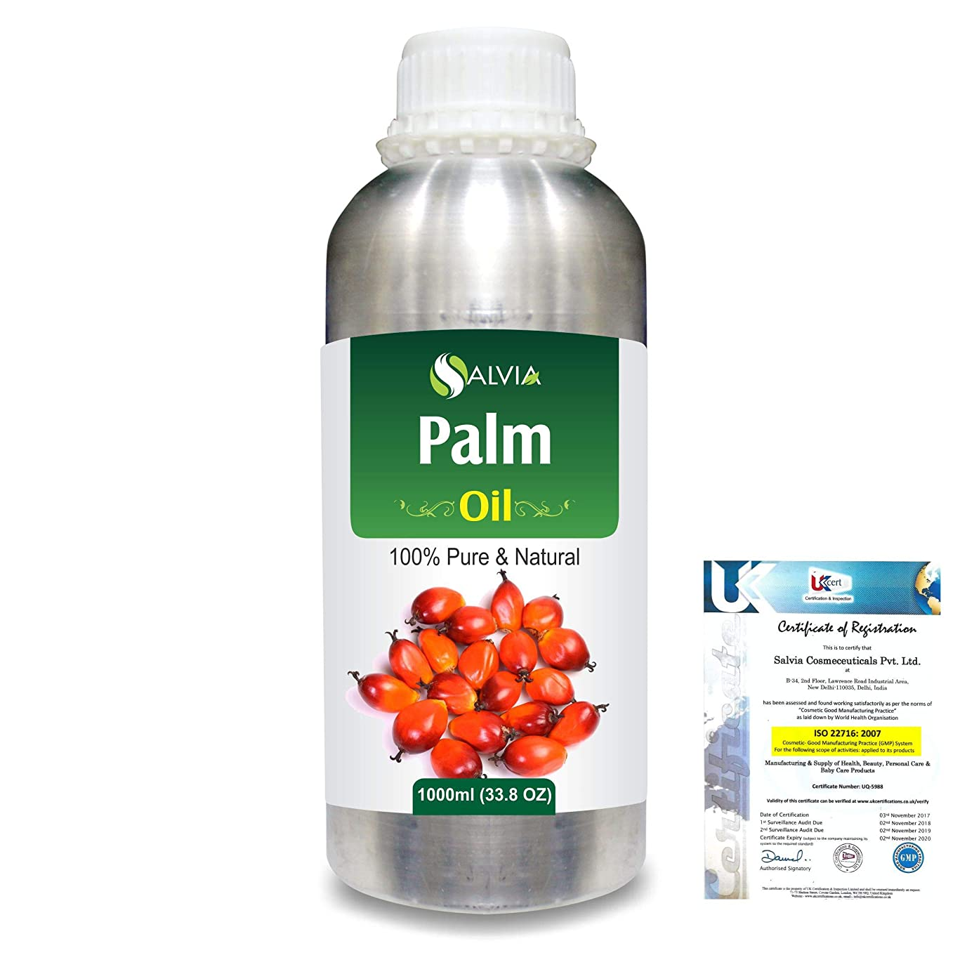 シルエット機知に富んだ準備するPalm (Elaeis guineensis)100% Natural Pure Carrier Oil 1000ml/33.8fl.oz.