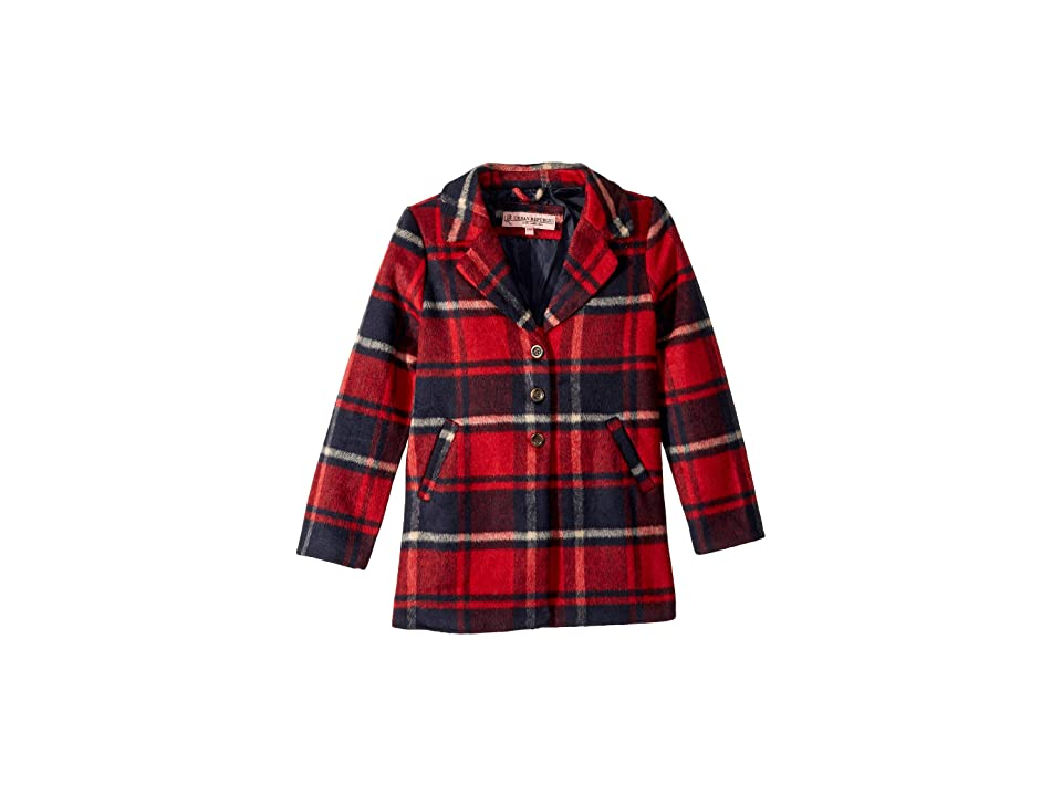 Urban Republic Kids Charlotte Long Length Wool Coat (Little Kids/Big Kids) (Red/Black) Girl