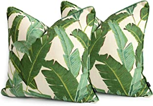 Hofdeco Tropical Pillow Cover ONLY, Green Banana Leaf, 20x20, Set of 2