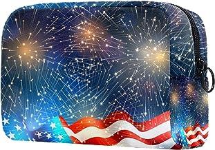 Damska torba do makijażu, kosmetyczka torba do przechowywania amerykańska flaga i fajerwerki na podróż, organizer kosmetyków