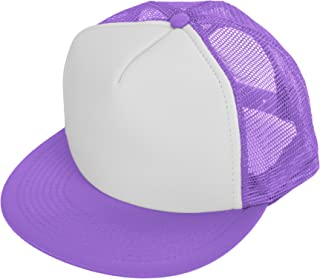 064ab235 DALIX Flat Billed Trucker Cap with Mesh Back M L XL Adjustable Hat (in 14  Colors