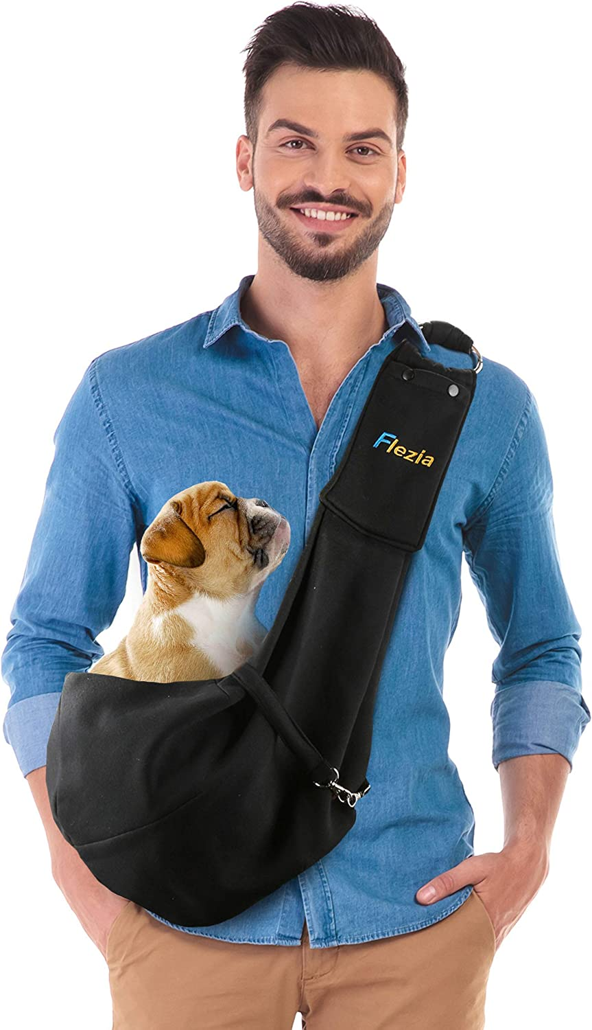 Flezia Pet Sling Carrier for Small Dog or Cat  Black  Pet Blanket and Safety Collar Hook Included  HandsFree Bag Perfect for Walking, Car Seat, Doing Errands, Traveling and Hiking
