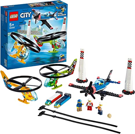 LEGO60260CityCarreraAéreaJuguetedeConstrucciónNiñosyNiñas+5añoscon3MiniFigurasy2HelicópterosQ