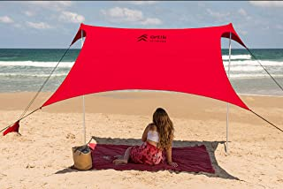 Artik Family Beach Tent Canopy Sunshade with Sandbag Anchors - Simple & Versatile. SPF50, Lycra Sun shelter for The Beach,Camping and Outdoors