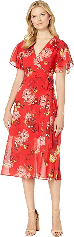 Printed Chiffon Maxi Wrap Dress
