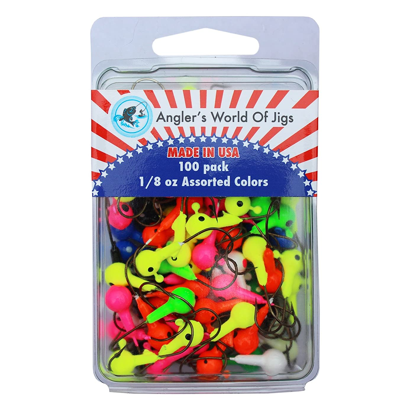 Vibrant Color Fishing Lures - Round Lead Ball Head Jigs with Barb Lazer Sharp Fishing Hooks- Bait for Worms Shrimp in Freshwater- Glow in Dark and Bright Colors Options