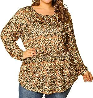 Agnes Orinda Women's Plus Size Leopard Blouse Floral Smocked Waist Long Sleeve Tunic Tops