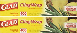 Glad Cling Plastic Wrap, 400 Square Foot Roll (Pack of 2 Rolls, Total 800 Sqf)