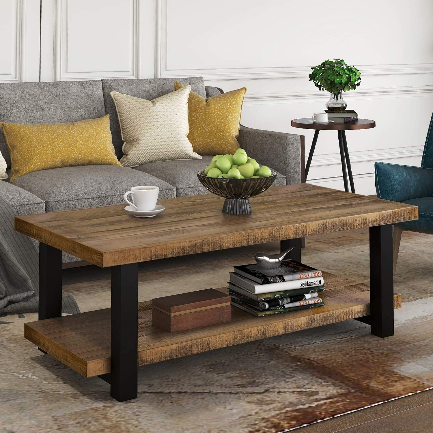 Knocbel Farmhouse Coffee Table for Max 72% OFF Living Room 2-Tier Sofa Arlington Mall Side