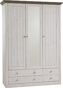 Steens Group 3171120269001F Armoire Monaco Blanc/Gris 145 x 60 x 201 cm