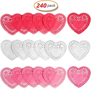 240pcs Heart Love Doilies Lace Paper Doilies Red Pink White For Mother's Day Father's Day Love Day Wedding Party Decoration
