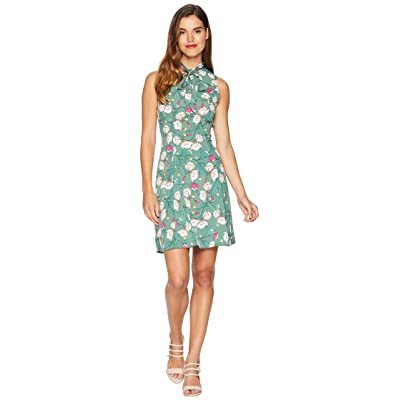 Unique Vintage 1960s Style High Neck Chauncey Flare Dress (Green/Pink Floral) Women