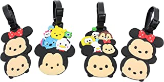 Finex Set of 4 - Mickey Mouse Minnie Mouse Travel Luggage ID Tag for Bags Suitcases with Adjustable Strap