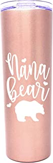 Cute, Fun, Unique Stainless Steel Vacuum Powder Coated Insulated Tumbler for Grandma, Nana, Grandmother - Perfect Gift for Christmas, Birthday, Mother's Day (Nana Bear Rose Gold)