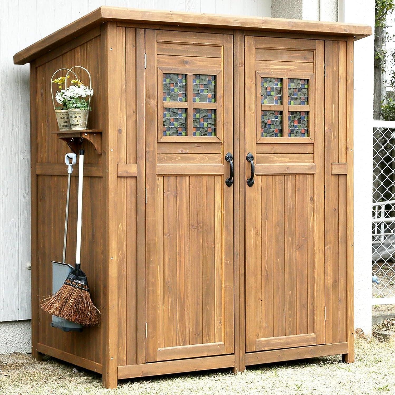 若さ神経障害同意ガーデンガーデン 木製収納庫 物置 Potager ポタジェモザイク 木製物置小屋 (高さ177cm×幅156cm×奥行き106cm) ライトブラウン PTG-177LBR