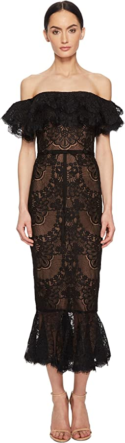 Marchesa Notte - Off the Shoulder Corded Lace Ruffle Cocktail with Flounce