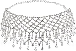 Rhinestone Choker Necklace for Women, Sexy Dainty CZ Diamond Gem Choker Neck Chokers for Women Girls